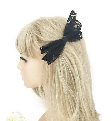 Black Lace Bow Hair Clip Grip 12 cm Ladies or Girls