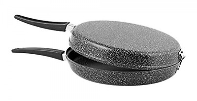 Home Stone Double Sided Omelette Pan with Non-stick Coating, Stone, Charcoal co