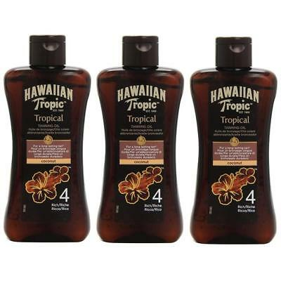 3 x Hawaiian Tropic Tropical Tanning Oil SPF4 Rich, Coconut (200ml)