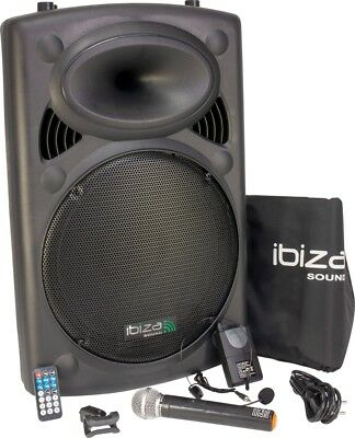 IBIZA Mobile Akku Sound Anlage PORT15VHF Bluetooth USB MP3 SD Funkmikrofon 800W