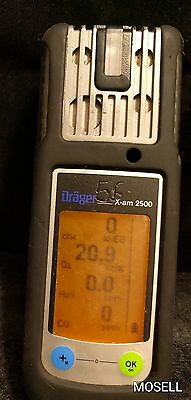 Draeger X-am 2500 Gas Detector O2 CO H2S LEL Calibrated Warranty
