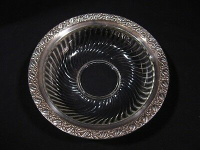Antique Webster Bowl, Crystal and Sterling Silver, Swirl Pattern