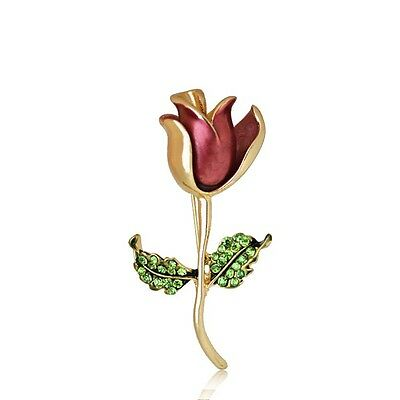Gorgeous Gold Plated Red Rose Single Stem Flower Crystal Brooch