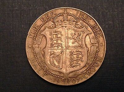 - 1907 Great Britain One Half 1/2  Crown Edward VII