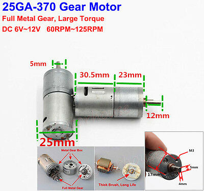 DC6V-12V 125RPM 25GA-370 Gear Motor Full Metal Gear Box low Speed High Torque