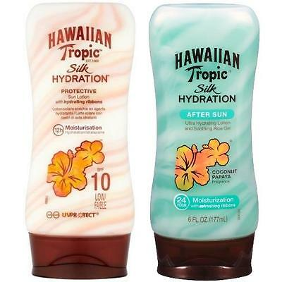 Hawaiian Tropic Bundle SPF 10 Silk Hydration Lotion PLUS Silk Hydration Aftersun