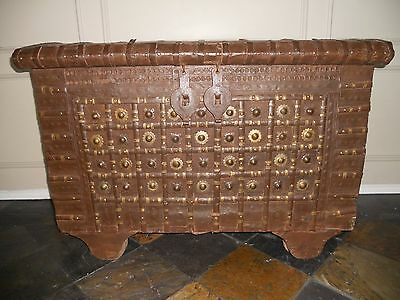 Antique Wood and Iron Trunk With Brass Details, Great Piece!!!!