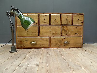 Beautiful Antique Vintage Industrial Bank of Pine Drawers Apothecary Spice