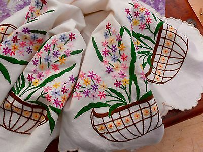 VINTAGE TABLECLOTH HAND EMBROIDERED BASKETS of FLOWERS - LINEN