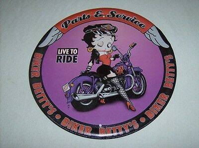 Cool retro Betty Boop metal litho Biker Betty's Parts & Service round wall sign