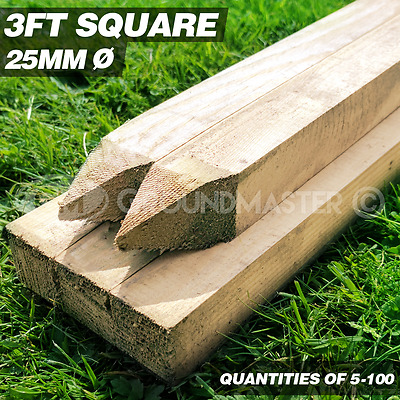 GroundMaster 3ft Stakes 900mm Wooden Timber Tree Post Treated Support Kits