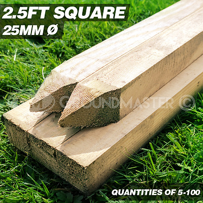 GroundMaster 2.5ft  Stakes 750mm Wooden Timber Tree Post Treated Support Kits