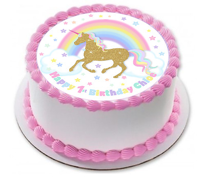 gold unicorn rainbow cake cupcake toppers 1st 2nd 4th 5th birthday baby shower