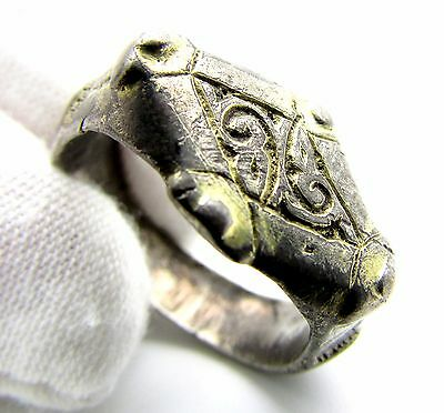 Viking Gold-Gilded Silver Seal Ring W/ Runic Symbols - Wearable Artifact - F218