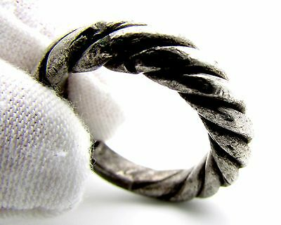 "Viking Era Silver ""twisted"" Ring - Wearable Historical Ancient Artifact - F219"