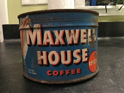 FULL, UNOPENED With KEY Vintage Keywind Maxwell House Coffee Tin One Pound