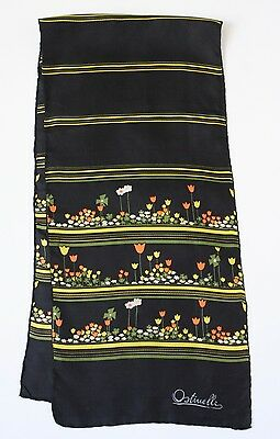 Ostinelli 1970s vintage silk scarf - Tulips Print - Black / Yellow- Long