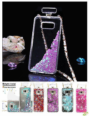 Samsung Galaxy S8 / S8 Plus Bling Liquid Glitter Rubber Bottle Case Cover Chain