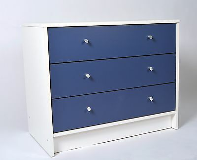 Madison 3 Drawer Chest Wide White/Blue