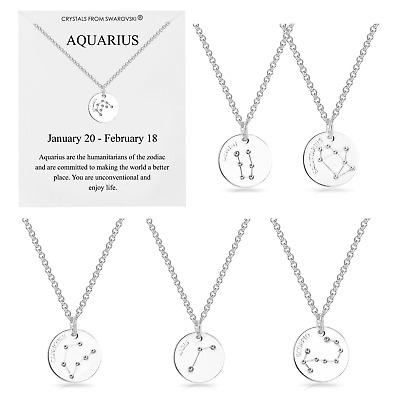 Silver Star Sign Zodiac Disc Necklace Embellished with Crystals from Swarovski®