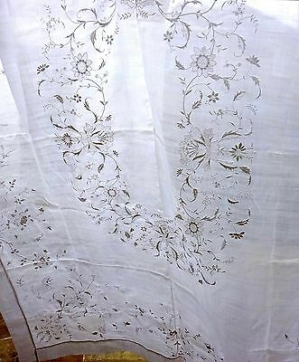 Piña Banquet Cloth Hand Embroidered Linen Tablecloth Antique Vintage Wedding