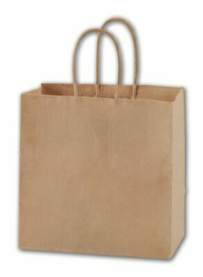 250 Recycled Kraft Paper Bags Merchandise Gift Shoppers Ruby 8 x 5 x 8""