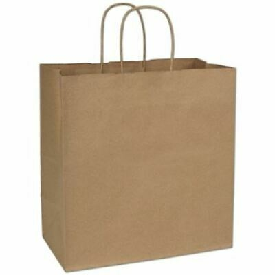 250 Kraft Gift Merchandise Paper Bags Shoppers Escort 13 x 7 x 13""