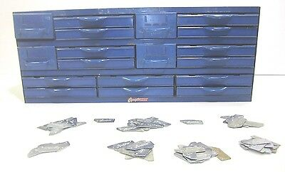 Vtg Equipto Blue Steel 18 Drawer Industrial Parts Cabinet Bin With 60+ Dividers