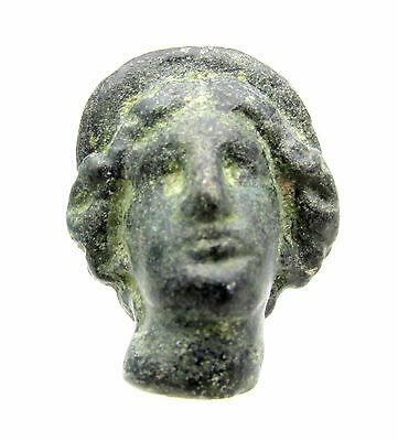 Roman Bronze Bust Figurine Head Of Juno -Very Rare Amulet Fitting Artifact- F234