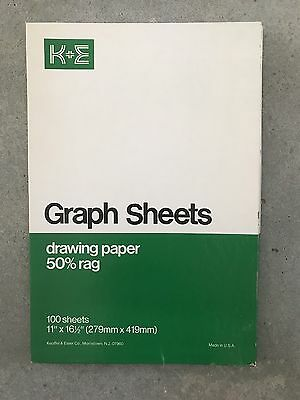 Vintage NEW Box Of Keuffel & Esser K+E Graph Sheets Drawing Paper 50% Rag