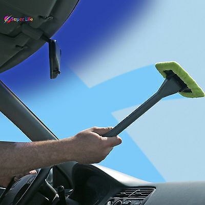 Windshield Cleaner Handy Wiper Long Handle Pivoting Head Removable Pad Car Home