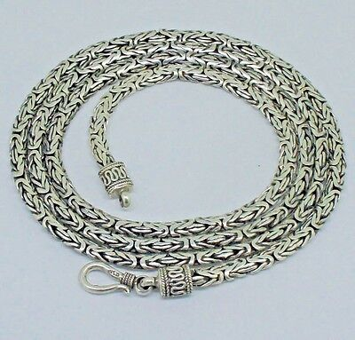 LONG Byzantine Chain Necklace Solid 925 Sterling Silver 30 Inch  3 mm - 46 gms
