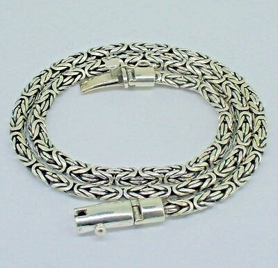 LONG Byzantine Chain Necklace Solid 925 Sterling Silver 20 Inch  6 mm - 58.5 gms