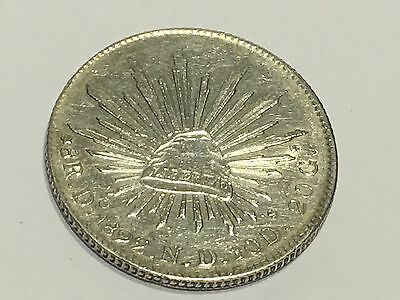1892 Do ND Mexico 8 REALES  Coin Silver 0.903 10 Ds 20 Gs XF