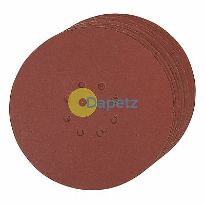 Punched Sanding Discs 225mm 10Pk Grit 120 Hook & Loop Aluminium Oxide New