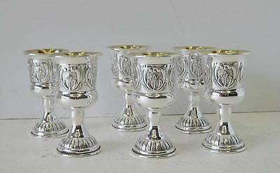 925 Sterling Silver Malta Hand Chased Design Set Of Six Whiskey Cups 20102-0030