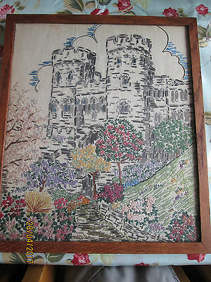 Vintage embroidered picture of a castle and gardens