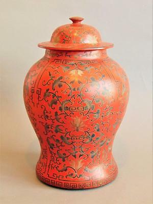 Imposing Lacquered Chinese Temple Jar / Vase