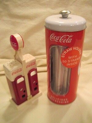 Coca-Cola Salt & Pepper Gas Pump Shakers & Straw Holder with 50 Straws