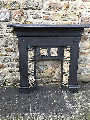 Original Reclaimed Antique Cast Iron Tiled Fireplace Insert