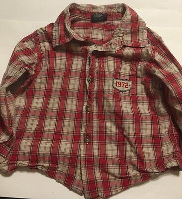 Faded Glory Boys 3T Long Sleeve Collared Button Front Shirt Red Plaid 1972