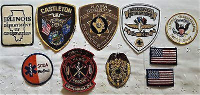 Mixed Lot 10 Fire Dept., Dept. of Correction, Police, and Conservation Patches
