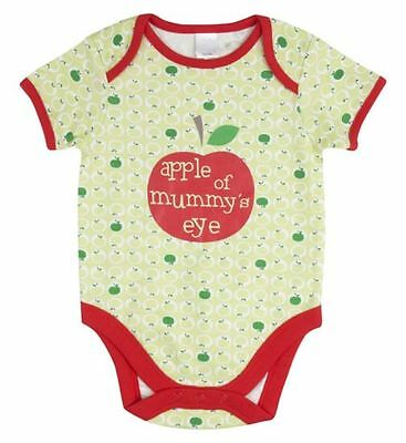 "BABY UNISEX SLOGAN BODYSUIT ""APPLE OF MUMMY'S EYE"" SMALL BABY UPTO 7.5lbs(3.4kg)"