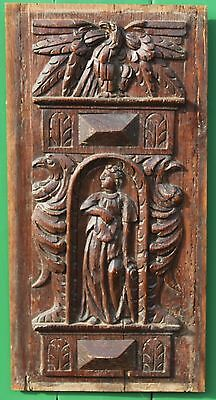 RARE 17th CENTURY CARVED OAK PANEL, FRENCH, c.1620  Gothic Medieval carving