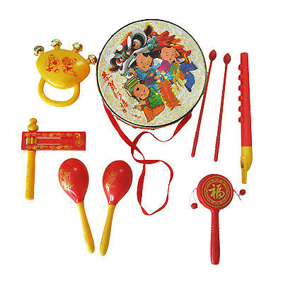 AF Red With Golden Kids Genius Toy Gift Set Hit Roll Drum Musical Percussion Ins