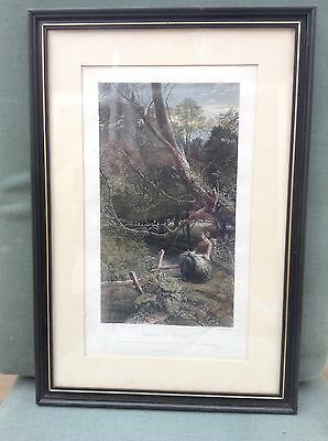 Twilight in the woods - 19th century steel engraving