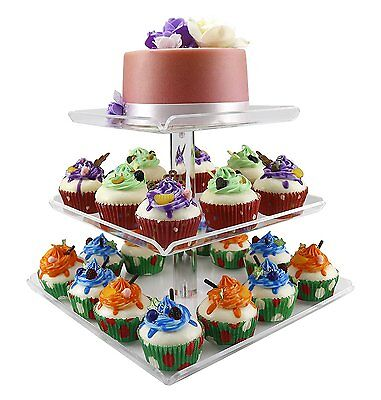 3 Tier Acrylic Squar Wedding Cake Stand Cupcake Tower Dessert Food Display Holde