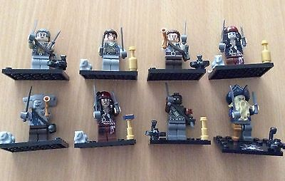 8pcs Pirates Of The Caribbean Mini Figures Minifigs Fit with Lego UK minifigures