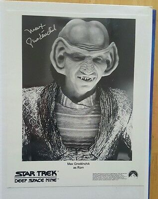 Max Grodenchik as Rom signed 8x10 B/W Photo (Star Trek DS9 Original Autograph)