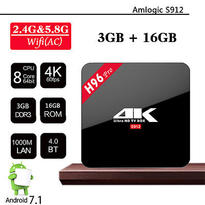 3GB/16GB tv box 4K Amlogic S912 H96 Pro Octa Core Android 7.1 2.4G/5GHz Wifi